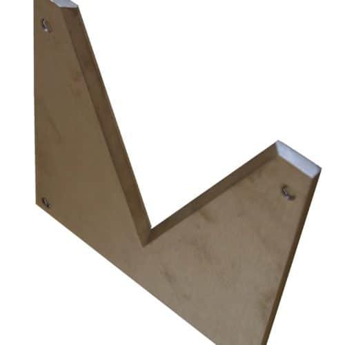 Chanfrein suivant ISO 1438 sur déversoir mince paroi à échancrure triangulaire a